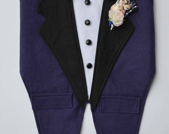 Dog Wedding Tuxedo, Navy and Black Boy Dog Harness