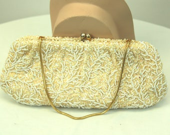 1960s 1950s beaded sequin bag Ivory white bridal wedding purse convertible clutch evening bag Made in Hong Kong