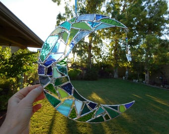 Stained Glass Moon & Star-Handmade-Window Decor-Unique Gift Idea-Suncatcher-Birthday-Celestial Glass-Anniversary-House Warming-Glass Art-