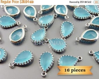 15% SALE 16 pcs ocean blue 12mm glass charms with silver frame, glass beads 5049R-OB-12-bulk (16 pieces)