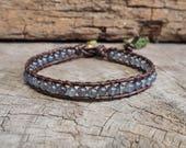 Smokey Quartz Leather Bracelet/Anklet, brass bead, unisex bracelet
