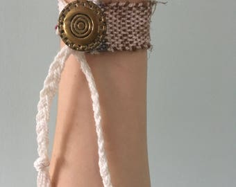 Handwoven Recycled Silk and Cotton  Bracelet // multicolored / upcycled / zero waste / sustainable / boho / gift / OOAK