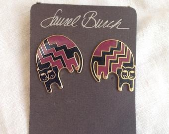 Vintage Laurel Burch Aztec Cat Earrings Black and Maroon Red Original Card