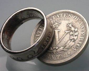 "COIN RING - (( United States ""V"" Nickel )) - ( Choose The Year & Ring Size You Want )"