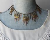 Vintage Brass Filigree Enameled Crescent and Stars Coral Beaded Necklace