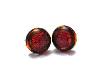 Small Dichroic Stud Earrings, Fused Glass Earrings, Red Earrings, Post Earrings, Hypo Allergenic,Dichroic Fused Glass Earrings, 180