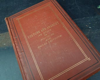Antique Book Culture and Anarchy 1875 - Literary Gift - Periodical Essays by Matthew Arnold - Political Philosophy