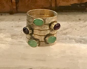 Hand Crafted Modern Design Solid Sterling Silver Garnet Chrysoprase Bold Vintage Ring