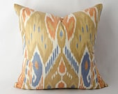 Very beautiful ikat pillow cover from uzbekistan, Fully handmade woven ikat fabric. Silk cotton ikat