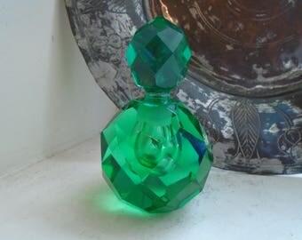 Lenox Emerald Green Multi Faceted Cut Crystal Perfume Bottle