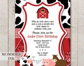 Farm Invitation, Farm Animals Birthday Party Invite, Farm Invite, Farm Party, Farm Birthday Invitation, Barnyard Invitation, Red Barn Invite