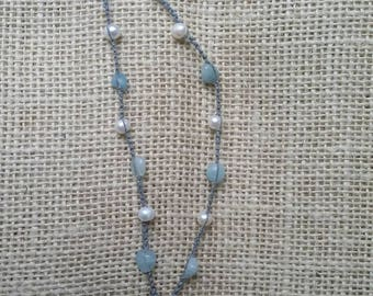 White sea glass necklace with Aquamarine and Pearl