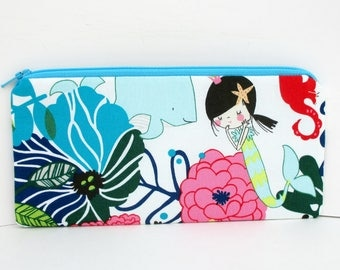 Mermaid Pencil Pouch, Long Zippered Bag, Alexander Henry, Zipper Pouch, SALE
