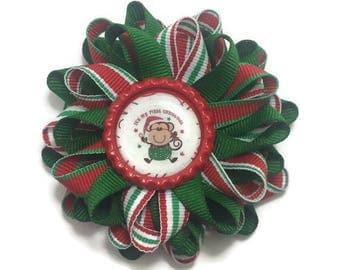 First Christmas Bow, Christmas Bear Bow, Bear Hair Bow, Red Green Hair Bow, Christmas Stripe Bow, Handmade Hair Bow, Loopy Hair Bow, No Slip