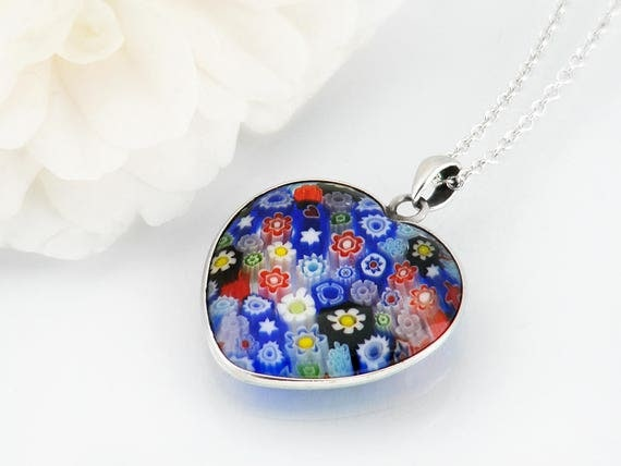 Vintage Millefiori Heart Pendant | Italian Glass Small Pendant | Thousand Flower Jewelry | Multi Colored Flowers - 30 Inch Sterling Chain