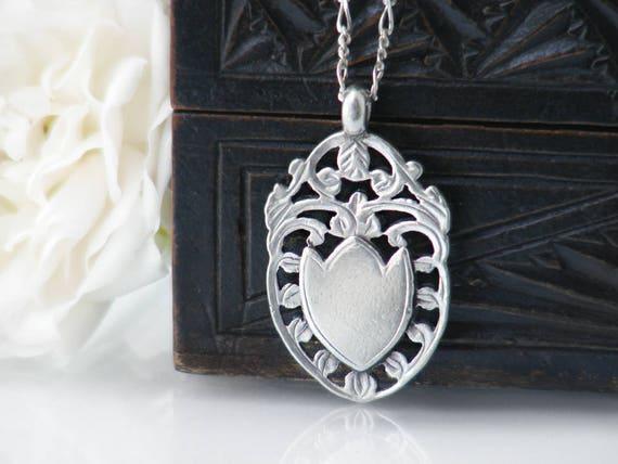 1916 Antique Medal | Sterling Silver Medallion | Decorative Leaf Design Sterling Pendant | English Hallmark - 18 Inch Vintage Sterling Chain