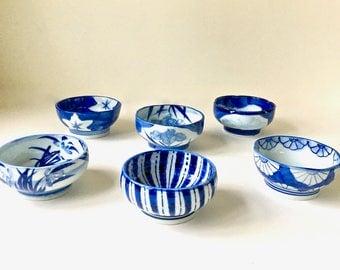 Vintage Takahashi Sushi Bowls Blue and White Porcelain Takahashi San Francisco Sushi Bowls