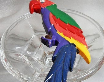 SALE Vintage Large Colorful Parrot Brooch. Huge Wood Hand Painted Bird Pin.