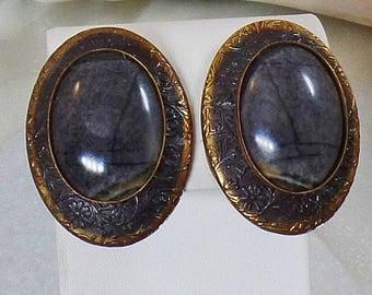 SALE Vintage Gray Tourmaline Earrings. Copper Gray Tourmaline Earrings