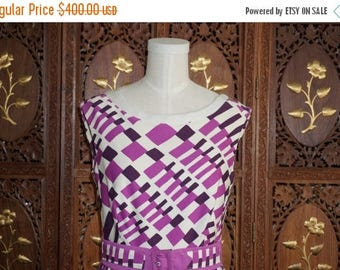 ON SALE 1960s Jacques Tiffeau Abstract Printed Broadcloth Dress