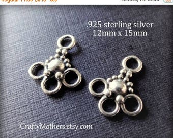 7% off SHOP SALE ONE pair Bali 3-loop Chandelier Finding, 12mm x 15mm, Choose Oxidized Sterling or 24kt Gold Vermeil - Flat Rate Shipping