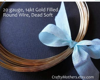 8% off SHOP-WIDE, Remnant, 2 feet 5 inches, 20 gauge 14kt Gold Filled Wire - Round, Dead SOFT, 14K/20 precious metal jewelry wire