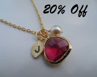 20% Off - July Birthstone Necklace, Ruby necklace, Gold or Silver Necklace, Initial Leaf, Jewel,Pearl, Bridesmaid Gift, Birthday Gift