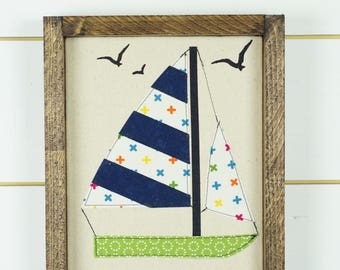 Sail boat wall art, framed art, boating gifts, framed picture, sail boat appliqué, baby boys room, boy nursery decor, boating decor