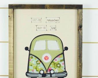 VW Van decor, VW Bus, framed picture, wall art, framed art, retro wall decor, wood signs, wall hanging, girls room decor, floral wall art