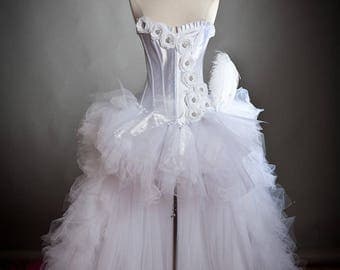 Custom Size Medium White and Hot Pink tulle Burlesque Corset Dress short in the front long train in the back S-XL