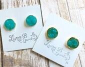 SALE Turquoise Chunky Druzy Studs