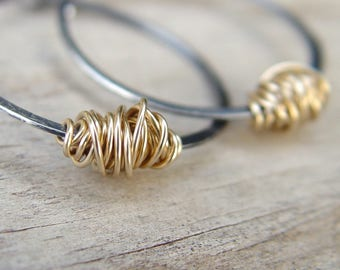 Custom Order For Sybille - 2 Pairs Of Silver And Gold Hoops
