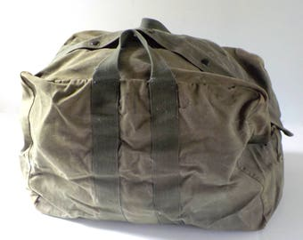Vintage Military Duffel Bag • Large Green Flyer Kit Bag •