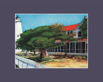 Ocracoke Lighthouse Print North Carolina Outer Banks beach coastal nautical matted artwork