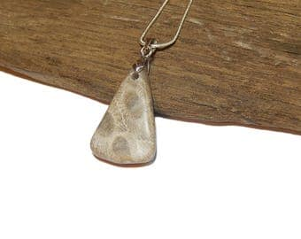 "Petoskey Stone necklace sterling silver 18"" snake chain  Michigan jewelry rustic artisan State of Michigan Coral  upnorth Lake Fossil stone"
