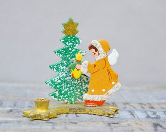 Vintage Christmas Wooden Girl Shooting Star Candle Holder. Christmas Decor. Ornament 1960s/Christmas Collectible