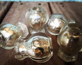 Mercury Glass SET of 5 Glass Knobs Drawer Pulls Includes Screws