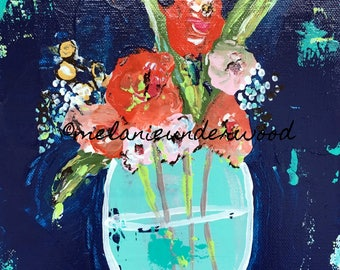 flower painting/original painting/floral art/abstract art/abstract floral art/fine art
