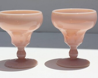 2 Vintage 1950's Mid Century Pink Opalescent Milk Glass Goblets Glasses