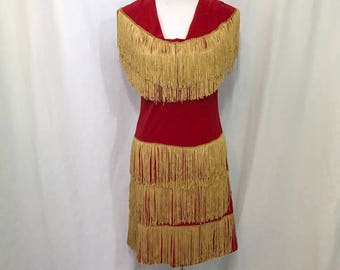Vintage 1960s Authentic Western Cowgirl Red Velvet Gold Fringe Dress M - Perfect Costume - Annie Oakley