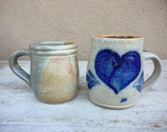 Vintage Stoneware Mugs Art Studio Pottery Earthy Coffee Cups