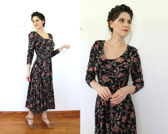 1940s Style Rayon Dress / 1990s Does 1940s Dark Floral Midi Dress