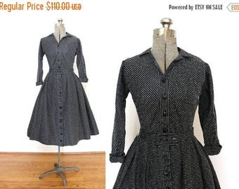 ON SALE 1950s Dress / Black Striped 50s Dress / 50s Full Skirt Shirtwaist Cocktail Dress