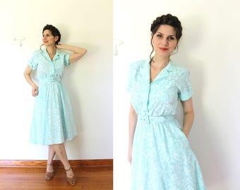 80s Does 50s Dress / 1980s 1950s Style Dress / Robins Egg Blue Full Skirt Shirt Dress