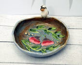 kookaburra ring dish or tea bag holder by Anita Reay, high relief ceramic Australian gum leaves and flowers pinch bowl light blue and brown