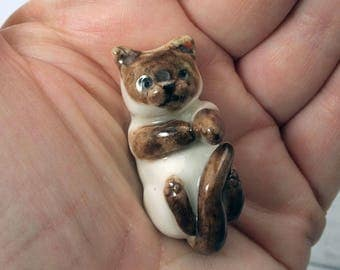 Hand crafted miniature ceramic siamese cat totem / cat figurine by Anita Reay cat lovers gift / playful cat