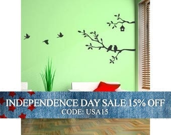 Independence Day Sale - Cute Birds and Branches Decal - Vinyl Wall Sticker - MED