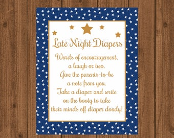 Late Night Diapers, Stars Baby Shower, Twinkle Twinkle Diaper Thoughts, Words For Wee Hours, Boy Baby Shower Game, Instant Download
