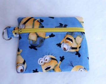 MINIONS Blue & Yellow fabric Zippered (Zipped) Earphone (Ear bud) pouch/ Coin Purse Make Up, small brushes, Gift Keyring handbag tidy
