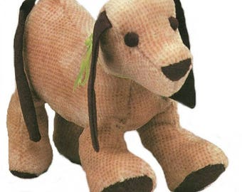 Sewing Pattern to make cute soft body, plush, stuffed Puppy DOG 13 x 11 inches PDF Instant Download Vintage
